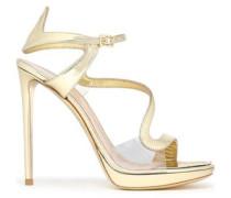 Metallic Leather And Pvc Platform Sandals Gold