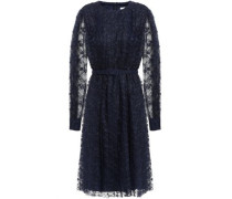 Belted Pleated Lace Dress Navy