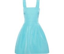 Woman Flared Pleated Silk-faille Dress Turquoise