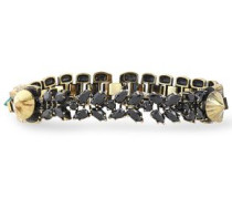 Woman Burnished Gold-tone, Agate And Crystal Bracelet Gold