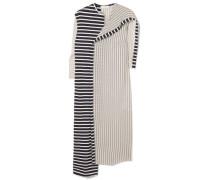 Woman Asymmetric Striped Jersey And Cotton Dress Navy