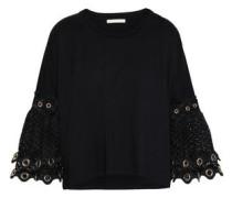 Eyelet-embellished Macramé-paneled Cotton-jersey Top Black Size 1