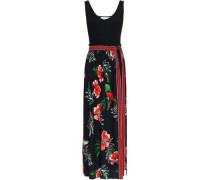 Ribbed-paneled Printed Crepe Maxi Dress Black