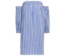 Off-the-shoulder Striped Cotton And Silk-blend Poplin Mini Dress Blue