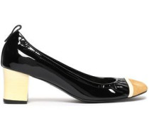 Patent-leather and suede pumps