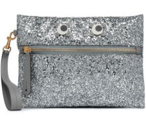 Appliquéd Glittered Pvc Pouch Silver Size --