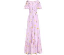 Cape-effect Striped Cotton-blend Floral-jacquard Gown Lilac