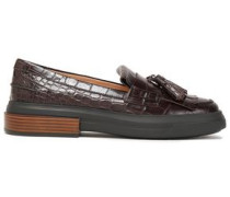 Fringed Tassel-trimmed Glossed Croc-effect Leather Loafers Chocolate