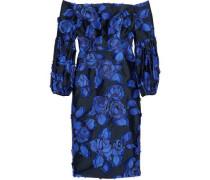 Off-the-shoulder fil coupé jacquard satin dress