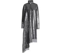 Asymmetric Layered Sequined Tulle Dress Silver