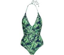 Printed Halterneck Swimsuit Navy