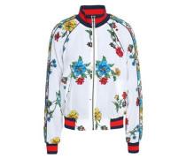 Floral-print silk crepe de chine bomber jacket