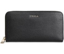 Textured-leather Continental Wallet Black Size --