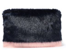 Two-tone Faux Fur Clutch Midnight Blue Size --