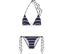 Miami Ring-embellished Printed Triangle Bikini Midnight Blue Size 12