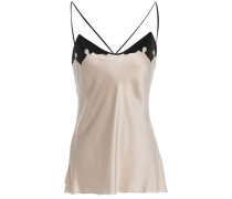 Paneled Silk-satin And Crepe De Chine Camisole Blush