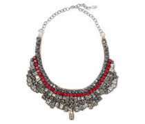 Silver-tone, Crystal, Bead And Satin Necklace Silver Size --