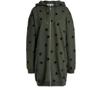 Flocked French Cotton-terry Hooded Jacket Army Green