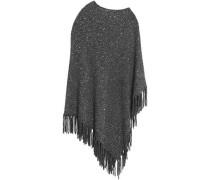 Fringe-trimmed sequin-embellished knitted poncho
