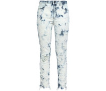 Distressed Bleached Mid-rise Skinny Jeans Light Denim  8