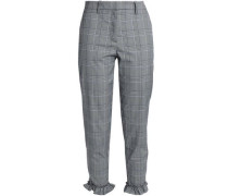 Ruffle-trimmed Prince Of Wales Cotton-blend Tapered Pants Gray