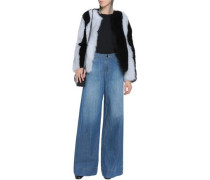 Faded mid-rise wide-leg jeans