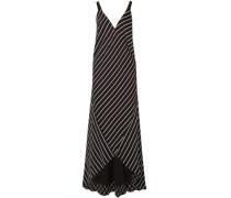 Striped Satin Maxi Dress Black