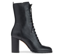 Woman Leather Ankle Boots Black