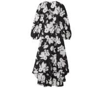 Woman Kochhar Floral-print Silk Crepe De Chine Maxi Wrap Dress Black