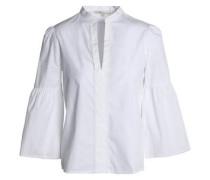Picot-trimmed flared cotton-poplin shirt