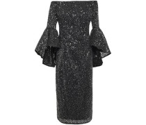 Off-the-shoulder Embroidered Sequined Tulle Midi Dress Black Size 0
