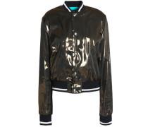 Coated chiffon bomber jacket