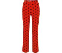 Woman Printed Cotton-blend Corduroy Slim-leg Pants Orange