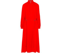 Gathered Crepe De Chine Midi Dress Red