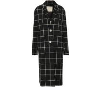 Woman Checked Cotton-blend Jacquard Coat Black