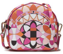 Printed Faux Textured-leather Shoulder Bag Pink Size --