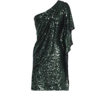 One-shoulder sequined mesh mini dress