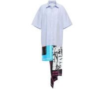 Woman Asymmetric Striped Cotton-poplin And Printed Satin-twill Shirt Dress Light Blue