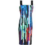 Grosgain-trimmed printed stretch-cady dress