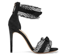 Houndstooth-trimmed Bow-embellished Suede Sandals Black