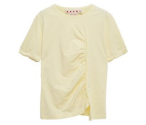 Woman Ruched Slub Cotton-jersey T-shirt Pastel Yellow
