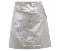 Pleated Lamé Mini Skirt Silver Size 14