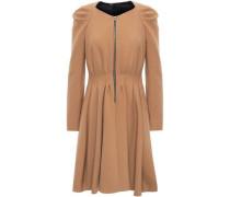 Flared Pleated Twill Mini Dress Camel