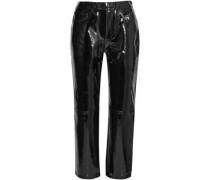 Cropped Patent-leather Straight-leg Pants Black  7