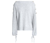 Button-detailed Knitted Sweater Light Gray