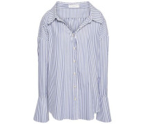 Striped Cotton-poplin Shirt Royal Blue