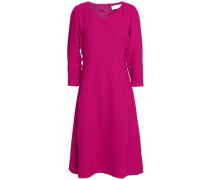 Button-detailed wool-crepe dress