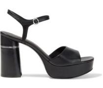 Ziggy Textured-leather Platform Sandals Black