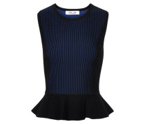 Woman Hind Ribbed-knit Peplum Top Black