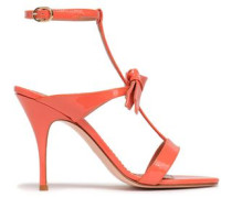 Bow-embellished Patent-leather Sandals Peach
